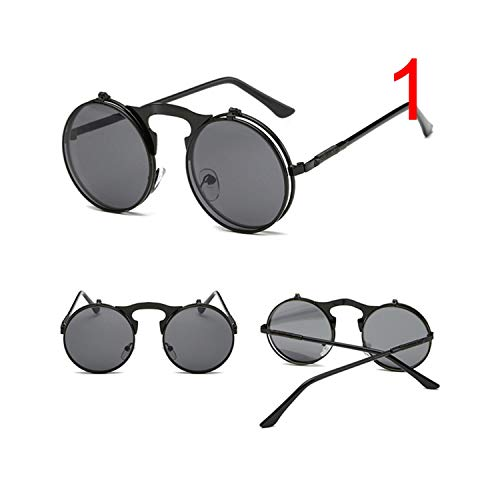 Klassische Sportsonnenbrille, Retro Round Steampunk Flip Up Sunglass Women Mens Clip On Sunglasses Metal Punk Sun Glasses Male 1