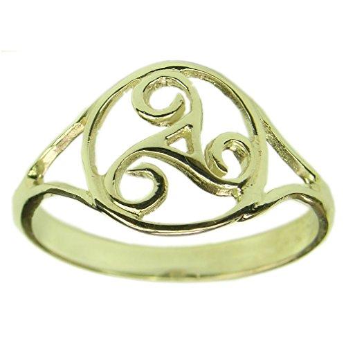 Souvenirs de France - Bague Triskel Celtique de Bretagne - Argent Plein, Plaqué Or ou Or Plein 18-Carats