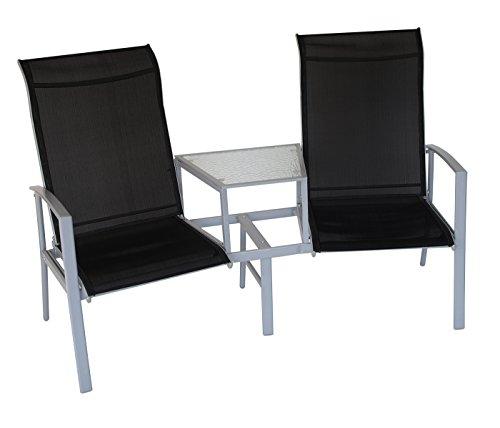 Tete à Tete Bank MERAN 2-sitzer mit Mitteltisch, Stahl + Textilgewebe schwarz