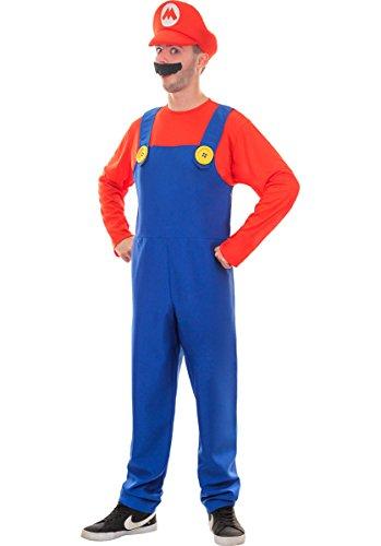 Super Klempner Brüder Erwachsene Kostüm (Männer: Medium, Rot) (Kostüm Mann)