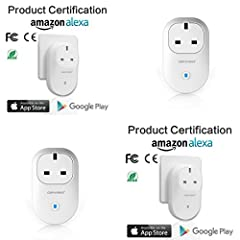 Idea Regalo - Keraiz Orvibo B25UK WiFi Smart Plug, ALEXA & Google Echo compatibile Control your devices from ovunque, non richiede Hub, interruttore wireless con App bianco White Pack of 1