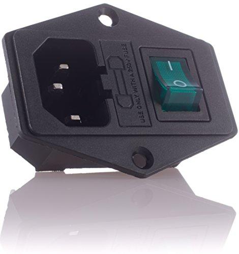 Hifi Lab 2X Kaltgeräte Einbau-Stecker Einbau-Buchse C-14 mit Schalter Audio Kaltgeräte-Buchse Einbau Kupplung Buchse Stecker inkl. Sicherung Kaltgeräte 2 Stück
