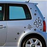 malango® Sterne Blumen Aufkleber Auto Autoaufkleber Styling Tuning Szene Design Flower Stars Siehe Beschreibung türkis türkis Siehe Beschreibung