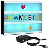 kwmobile Farbwechsel LED Lichtbox A4-7 Farben 252x Buchstaben bunt und schwarz USB Netzteil - Cinema Lightbox - Deko Licht Leuchtkasten - Light Box
