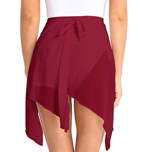 Tiaobug Damen Wickelrock Ballett Rock unregelmäßig Tanz Sport Gymnastik Mini Skater Rock Skirt aus Chiffon Dancewear Tanzrock Rosa Weiß rot schwarz Weinrot One Size