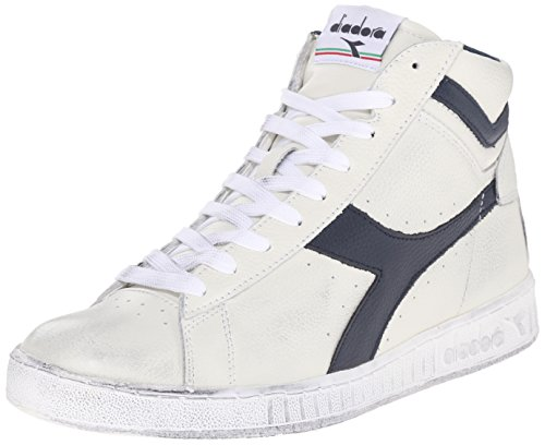 Diadora Game L High Waxed, Sneaker a Collo Alto Unisex – Adulto, (Bianco/Blu Mar Caspio), 42 EU