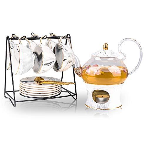 European Modern Tea Sets Heat Resistant Ceramic Teapot, with 6 Tea Cup and Saucer Set for Wedding Ceramic Porcelain Tea Cup Set, Coffee Gift Set, Best Flowering Tea Gift Set