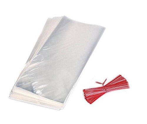 5012,7x 17,8cm klar flach Cello/Cellophan behandeln Tasche Geschenk Korb Supplies Partytüten Favor Taschen mit 50Sortiert 9cm Polka Dot twistbändern für die Verpackung Cupcakes und Süßigkeiten