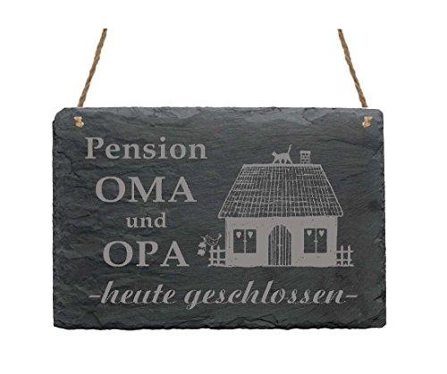 Schiefertafel « PENSION OMA UND OPA - HEUTE GESCHLOSSEN » Schild Haushalt Dekoschild Geschenk Dekoration