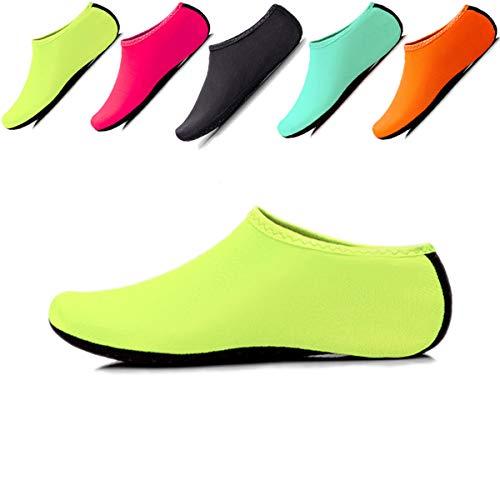 JIASUQI Klassische Barfuß-Wassersportschuhe, Aqua-Socken für Strand, Schwimmen, Surf, Yoga, Übungen, Grün - grün - Größe: 19 EU