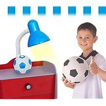 Lámpara de escritorio infantil para niño y niña con motivo de PELOTA DE FÚTBOL - Blanco-azul