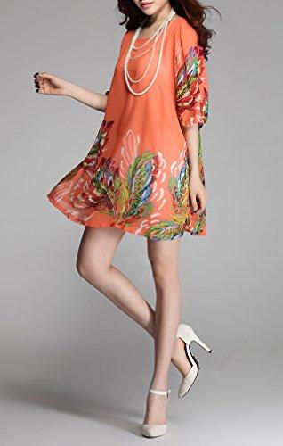 Smile YKK Femme Robe Chemise Imprimé Mousseline de soie Elégante Taille Loose Orange