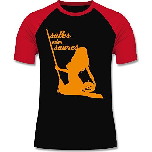 Halloween - Süßes oder Saures - zweifarbiges Baseballshirt für Männer Schwarz/Rot
