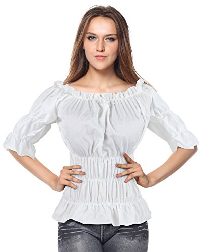Peplum Tube Top (Charmian Women's Off Shoulder Short Sleeves Ruffles Blouse Shirt Crop Top White X-Large)