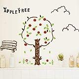 XCGZ Wandsticker Cartoon Apfelbaum Wandaufkleber Für Kinderzimmer Wohnzimmer Sofa Hintergrund Kinderzimmer Dekoration Wandtapete Aufkleber Art Decals