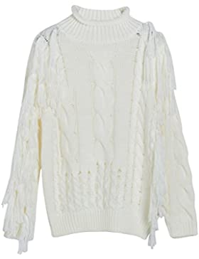 Vogueearth Fashion Mujer's Largo Manga Turtleneck One-Shoulder Tassel Knit Jumper Jersey Sudaderas Suéter Pull-over...