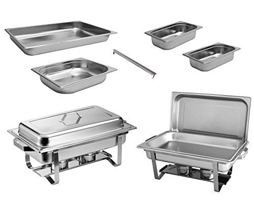 2x Chafing Dish Speisewärmer Profi Set 15-Teilig in Gastro Qualität Warmhaltebehälter Edelstahl Buffet-Set