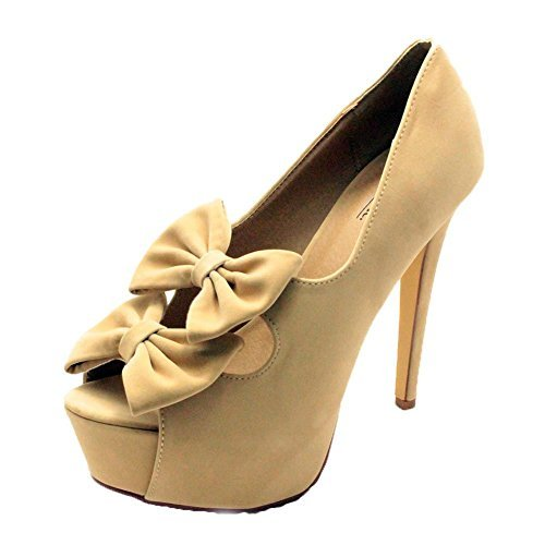 Mesdames suédine à double plate-forme de proue de la Haute Cour de chaussures à talons Nude