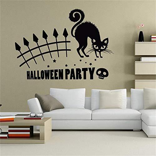 r Wandtattoo Schlafzimmer Halloween Party geschnitzte Fenster Home Room Decor Cat ()