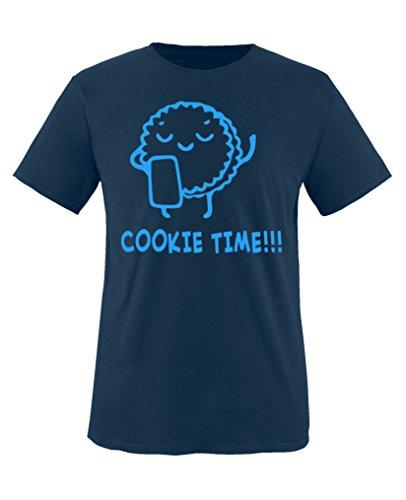 Comedy Shirts - Cookie time! Keks - Jungen T-Shirt - Navy/Blau Gr. 110-116 - Cookies Wanderer