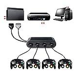 Fanxing Konverter 4 Port USB Gamecube NGC Controller Adapter für Nintendo-Switch/Wii U/PC 3in1 (Free, Schwarz)