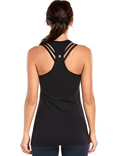 CRZ YOGA Damen Sport Shirt Yoga Tanktop Ringerrücken Oberteil Workout T-Shirt Schwarz XS(36)