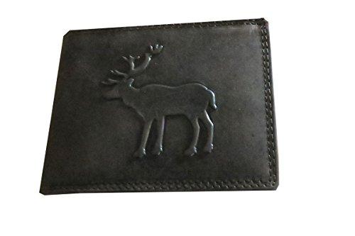 Geldbörse Büffelleder braun mit Hirsch-Motiv (Adams Leder-geldbörse)