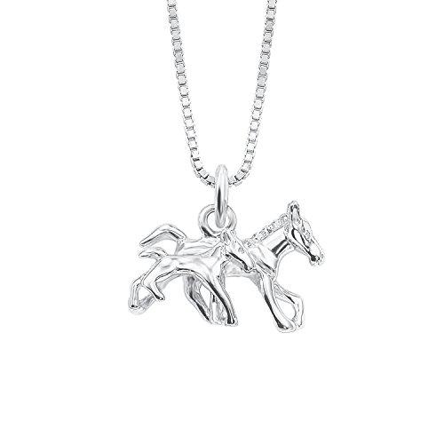 amor Mädchen-Halskette mit Pferde und Fohlen-Anhänger aus rhodiniertem 925er Sterling Silber