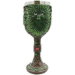 AOLVO - Taza de Acero Inoxidable para cáliz, diseño de árbol Verde con Copas de Cerveza, 3D Creative Vivid Tallado Medieval para café, Vino, cóctel, Brandy y Agua Potable, 200 ML