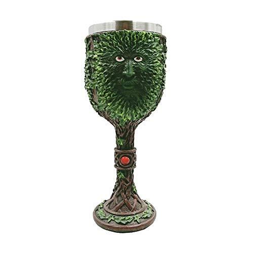 AOLVO Tasse à Calice en Acier Inoxydable avec Motif Arbre Vert et gobelet à bière, 3D créative et vive sculptée médiévale pour café, vin, Cocktail, Brandy, Eau Potable 200 ML