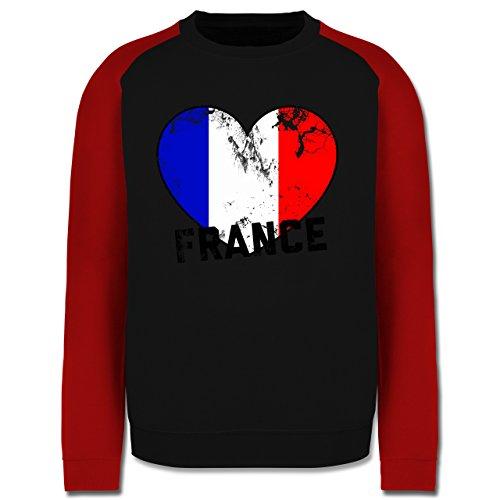 EM 2016 - Frankreich - France Herz Vintage - Herren Baseball Pullover Schwarz/Rot