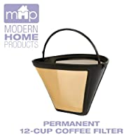 Permanent 12-Cup Cone Shape Gold Tone Coffee Filter Fits All Coffee Makers Using #4 Cone Filters