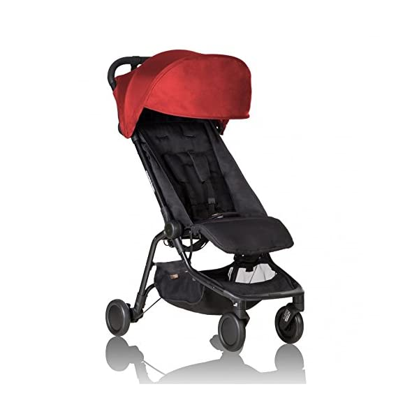 """Mountain Buggy Nano V2 - Ruby Mountain Buggy Ultra compact size at just 54cm/22"""" wide and with a compact fold down size of 54cm/22"""" (w) x 30cm/12"""" (d) x 51.5cm/20"""" (h): nano fits inside its own custom made satchel and is now: even more airline ready. Ultra Leight weighing in at 5.9kg / 13lbs: nano meets the standard weight restriction for carry on luggage on planes Full Lie Flat Solution for newborn - adaptability with the use of the soft shell cocoon carrycot (an additional accessory) 1"""
