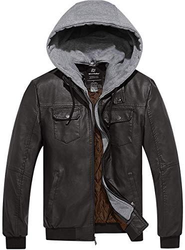 Wantdo giacca da uomo in pelle pu con cappuccio rimovibile caffè xl