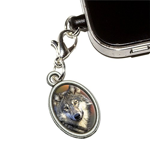 GRAY WOLF mit Fall Hintergrund Handy Jack Anti-Staub Oval Charm für iPhone iPod Galaxy