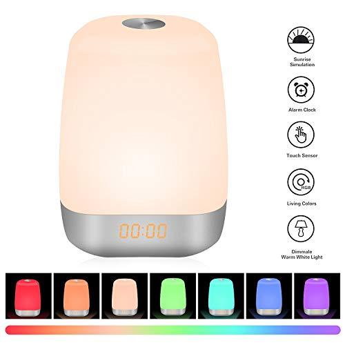 Sunvook Lichtwecker Tischlampe 2 in 1 Wake-up Licht LED Nachtlicht Kind Wecker Beleuchtung auch als Kinderwecker Tischleuchte Leselampen Baby Nachttischlampe mit Sonnenaufgang Tageslichtwecker und 5 Naturgeräuschen, RGB Farbwechsel256 Farbe, ouchsensor, USB - Kabel
