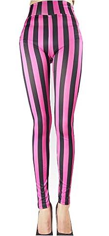 Wanderagio Plus Slim Women Sexy Stripes Printed Leggings Pants Elasticity Fashion Milk Silk leggings 004 Rose