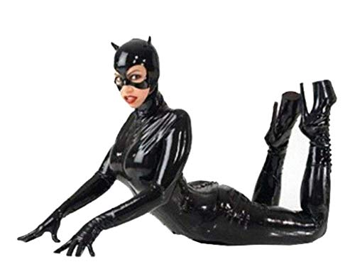 GYH Sexy A Tre Pezzi Tuta Catwoman Catsuit Pelle Verniciata Clubwear Abbigliamento