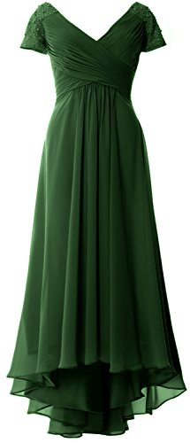 MACloth Cap Sleeves V Neck High Low Mother of Bride Dress Evening Formal Gown Dark Green