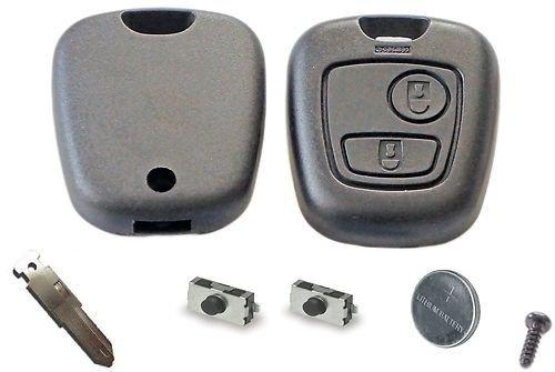 Peugeot diy-reparatur-set - Ersatz 2 Knopf Fernbedienung Auto Schlüsselanhänger Gehäuse mit Klinge,Akku und Mikroschalter für 106 206 306 406 107 207 307 407 Schlüssel Anhänger für - Schwarz (- Auto-alarm-key-set)