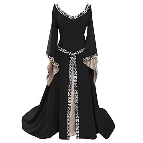 Kostüm Halloween Zigeunerin - Lazzboy Karneval Kostüme Cosplay Damen Langarm V-Ausschnitt Mittelalterlich Kleid Bodenlang Kleid(Schwarz,2XL)