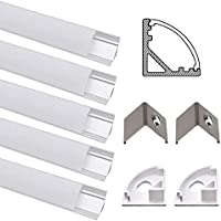 Perfil de Aluminio, Jirvyuk 5 Pack 1 m/3,3 ft Perfil de Aluminio LED para Luces de Tira del LED con Cubierta Blanca Lechosa, Los Casquillos de Extremo y los Clips de Montaje del Metal-Plata (Plata-01)