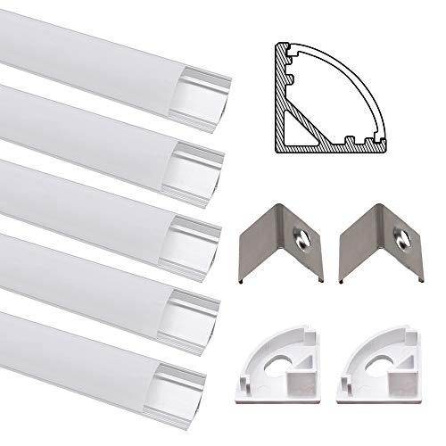 Profilé Aluminium LED, Jirvyuk de 5 x 1 Mètre V- Shape Profilés en aluminium pour LED Bande Lumières Avec Blanc Laiteux Couvercle, Embouts et Clips de Montage en Métal (Argent-01)
