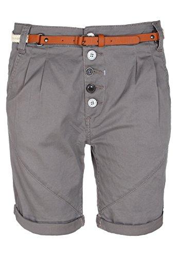 SUBLEVEL Damen Chino-Shorts mit Gürtel | Bermuda Hose kurz | Kurze Hose für Frauen in angesagten Farben dark-grey M (Hosen Bermuda Damen)