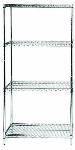 Quantum Storage Systems RWR72-2442LD 4-Tier Wire Shelving Unit, Chrome Finish, 300 lb. Per Shelf Capacity, 72