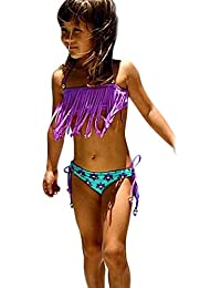 LANDFOX 2pcs Kids Baby Girl Tassels Swimsuit Swimwear Bañarse Bikini Conjunto Ropa