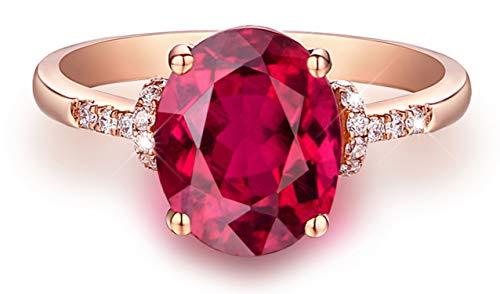 Epinki 18k oro anello ovale forma donna impegno anello proposta anello oro rosa con 1.4ct rosso taglia 12