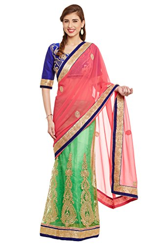 Chhabra 555 Pink & Green Net Embroidered Lehenga Saree.  available at amazon for Rs.2520