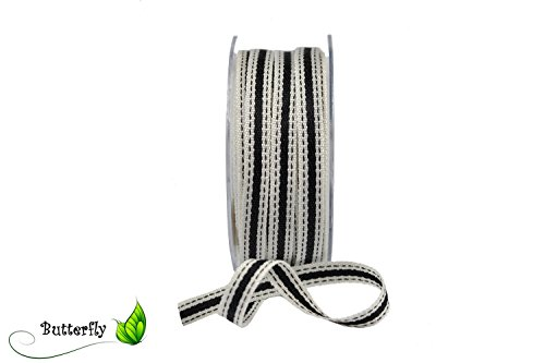 Ruban décoratif de coton ruban cadeau//Noir 10 mm x 20 m plastique effet ruban tissé