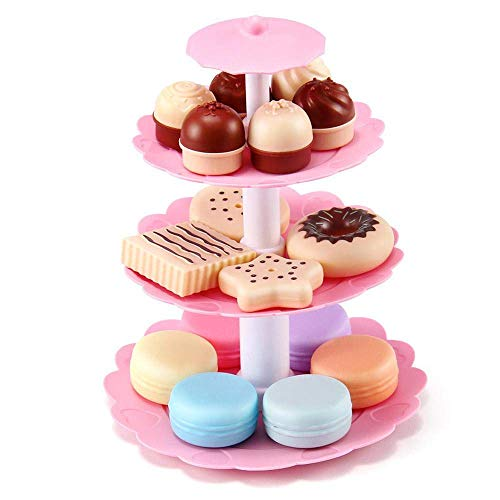 3-tier-dessert (E-CHENG 3-Tier Stacked Dessert Tower Fake Colorful Simulation Cake for Kids Toy Home Kitchen Party Decoration Market Display Photography Props)
